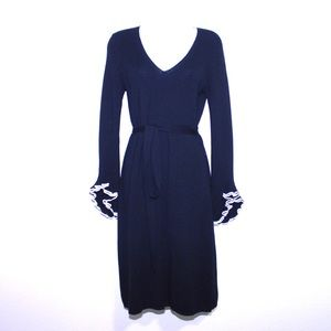 Milly 100% Wool Knit Flounce Sleeve Sweater Dress